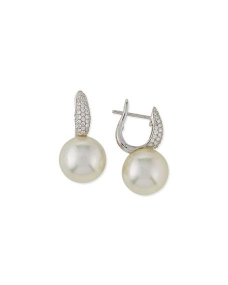 Slim South Sea Pearl & Diamond Earrings