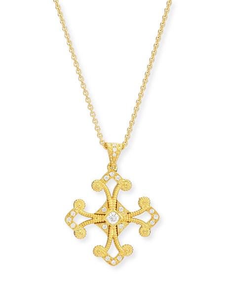 Aegean Diamond Cross Pendant Necklace