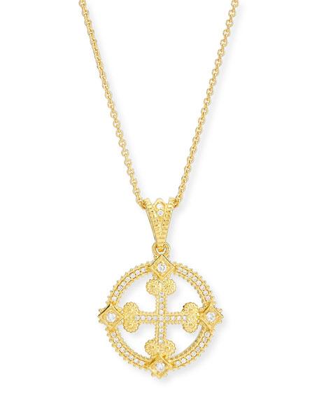Aegean Diamond Round Cross Pendant Necklace