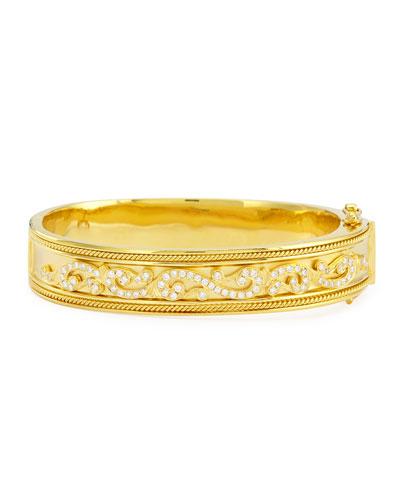 "Etruscan Collection 18k Diamond Bangle, 2"""