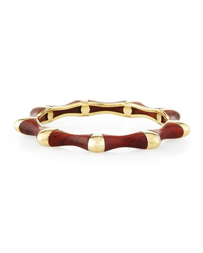 18k Gold Bloodwood Bangle Bracelet