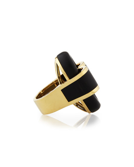 18k Gold Ebony Buckle Ring