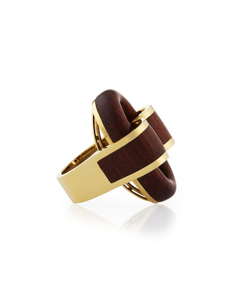 18k Gold Bloodwood Buckle Ring, Size 6.5
