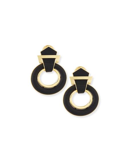 18k Gold Ebony Buckle Earrings
