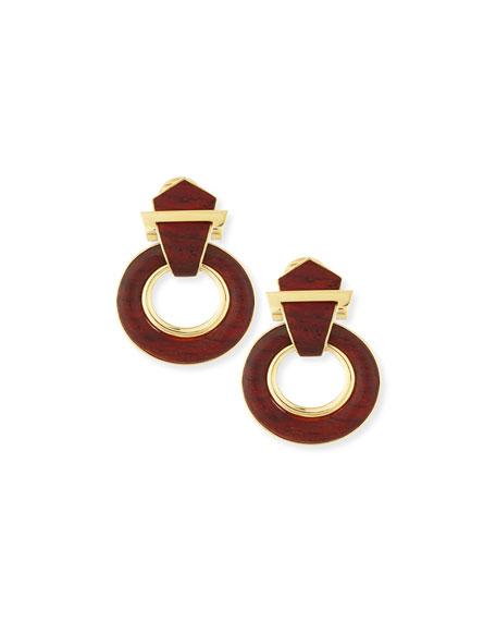 18k Gold Bloodwood Doorknocker Earrings