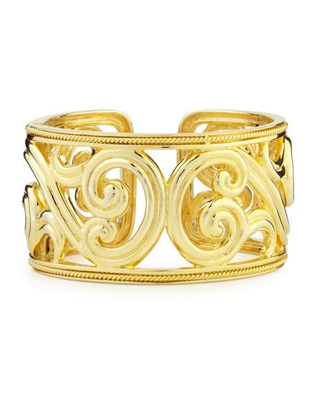 Paisley 18k Gold Hinged Cuff Bracelet