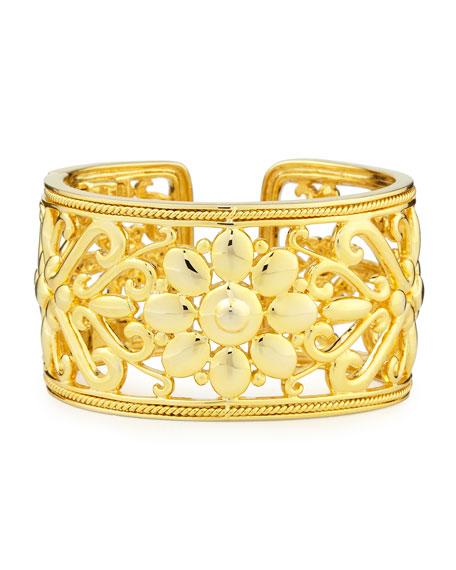 Sunflower 18k Gold Hinged Cuff Bracelet