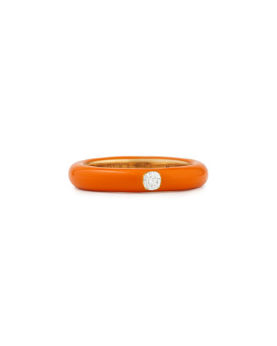 Pop Orange Enamel Band Ring with Diamond