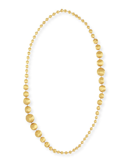 Africa 18k Gold Graduated Ball Necklace, 36