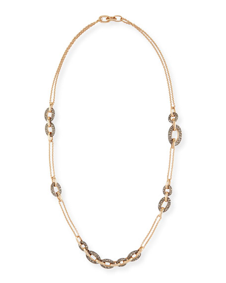 Tango 18k Rose Gold Brown Diamond Link Necklace