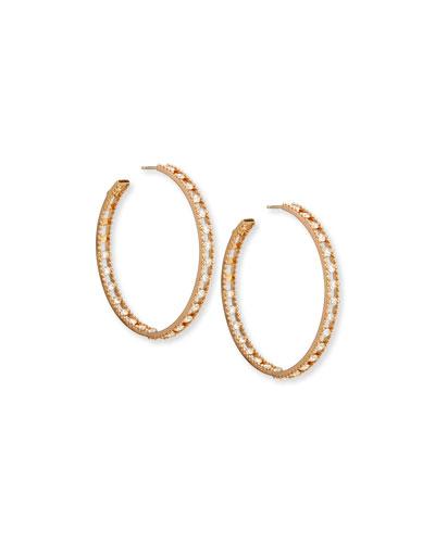 18k Rose Gold Diamond Hoop Earrings