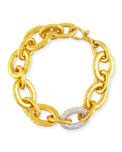 24k Galahad Link Bracelet with Diamonds