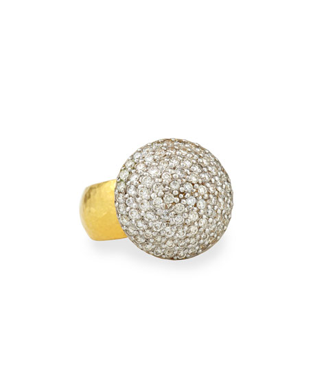 Gurhan 24k Gold Lentil Ice Diamond Cocktail Ring,