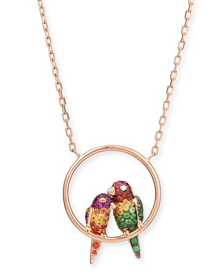 Nuri the Cockatoo 18k Rose Gold Pendant Necklace