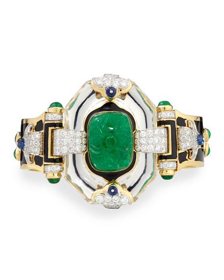 David Webb Emerald, Sapphire and Diamond 18k Gold