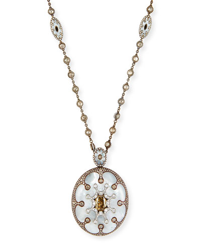 Mother-of-Pearl Oval Pendant Necklace with Brown & White Diamonds