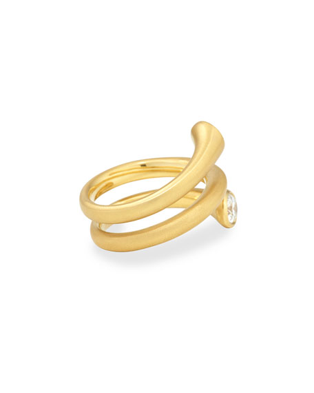 18k Gold Wrap Ring with Diamonds