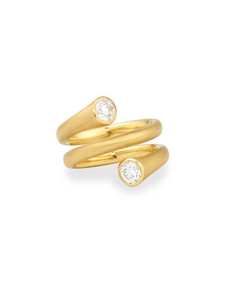 18k Gold Wrap Ring with Diamonds, Size 6.5