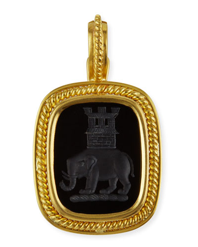 19k Elephant and Castle Onyx Pendant