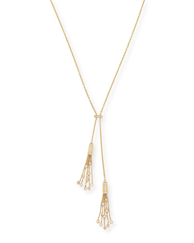 18k Gold Tassel Necklace with Diamonds