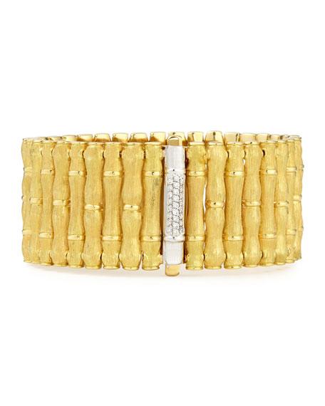 18k Gold Bamboo Bracelet with Diamonds, Large