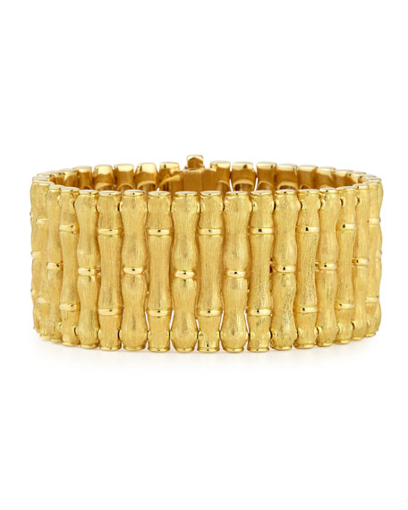 Roberto Coin 18k Gold Bamboo Bracelet with Diamonds, Large