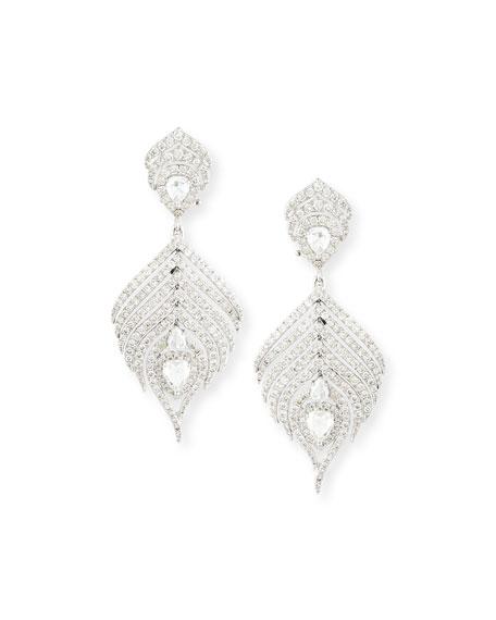 Sutra 18K White Gold & Diamond Feather Drop Earrings IX86x