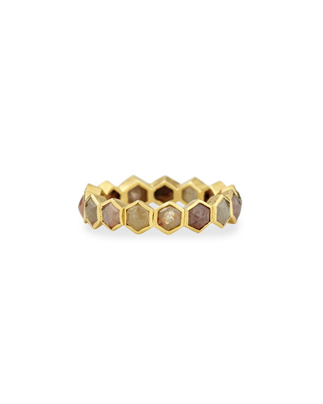 18k Fancy-Cut Hexagon Diamond Band Ring