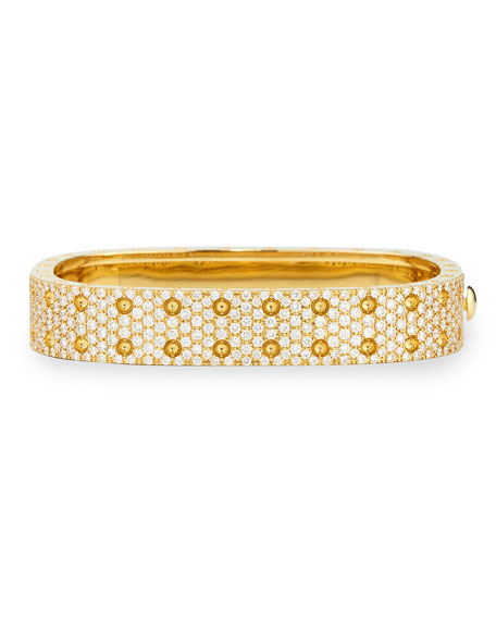 Pois Moi Yellow Gold 2-Row Diamond Bangle