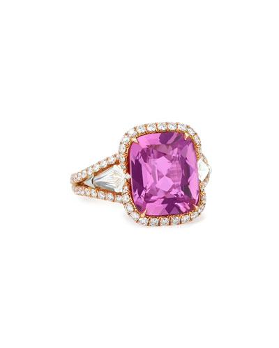 18k Rose Gold Pink Sapphire Ring with Diamonds