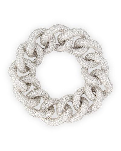 18k White Gold Diamond Chain Link Bracelet