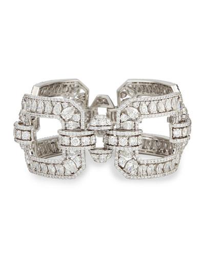 18k White Gold Diamond Square Link Bracelet