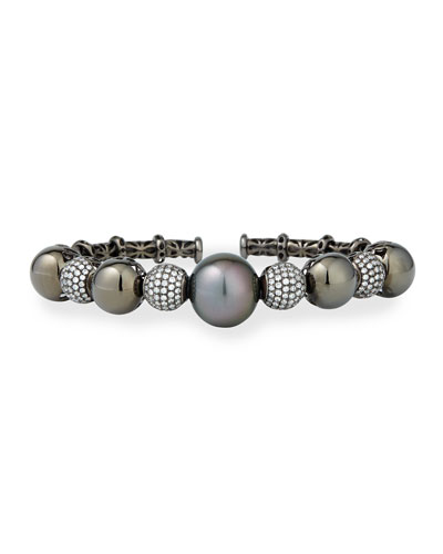 Black Gold Tahitian Pearl Cuff with Diamonds