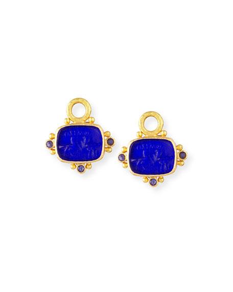 Elizabeth Locke Two Cranes Intaglio 19k Gold Earring