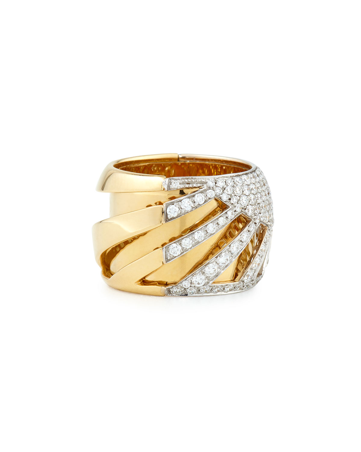 Miseno 18k Gold Diamond Sun Ray Ring bsM449PnB