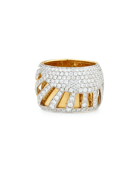 18k Gold Diamond Sun Ray Ring