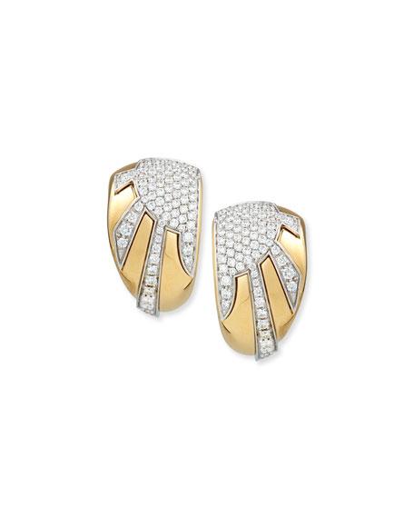 18k Gold Diamond Sun Ray Earrings