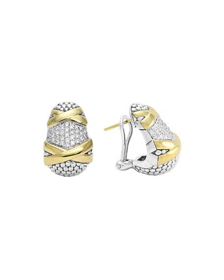 Sterling Silver & 18k Gold Diamond Caviar Earrings