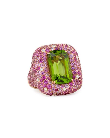 Margot McKinney Pink Sapphire and Diamond Peridot Ring