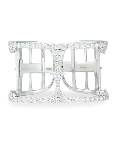 18k White Gold Open Diamond Cuff