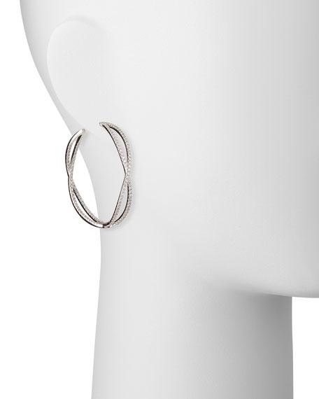 18k White Gold Crisscross Diamond Hoop Earrings