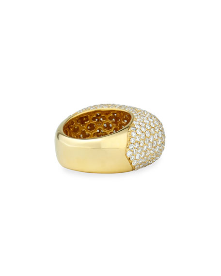 18k Gold Pave Diamond Square Ring