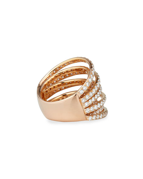 18k Rose Gold Multi-Row Diamond Ring