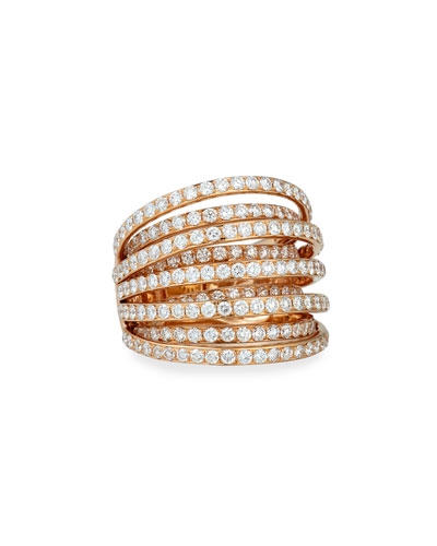 18k Rose Gold Multi-Row Diamond Ring