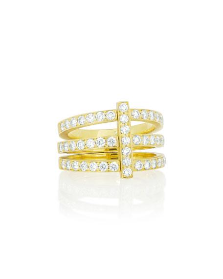Moderne 18k Three-Row Diamond Ring, Size 6.5