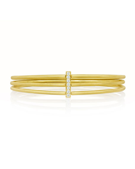 Moderne 18k Gold Three-Row Bangle with Diamond Bar