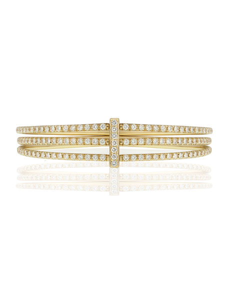 Moderne 18k Gold Three-Row Diamond Bangle