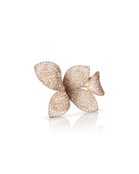 Giardini Segreti 18k Rose Gold Diamond Leaf Ring, 4.35 cts.