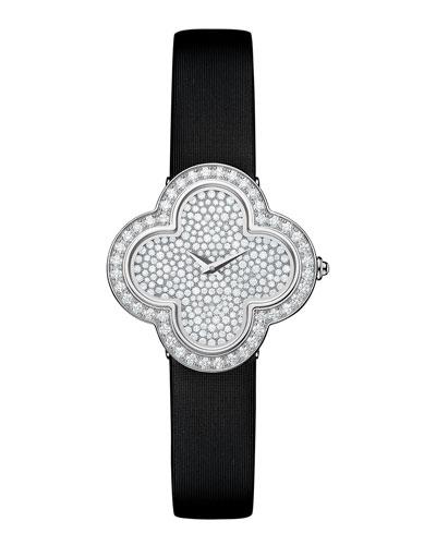 Alhambra Pave White Gold Diamond Watch, Small