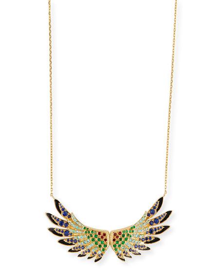 18k Gold Multi-Stone Wing Pendant Necklace